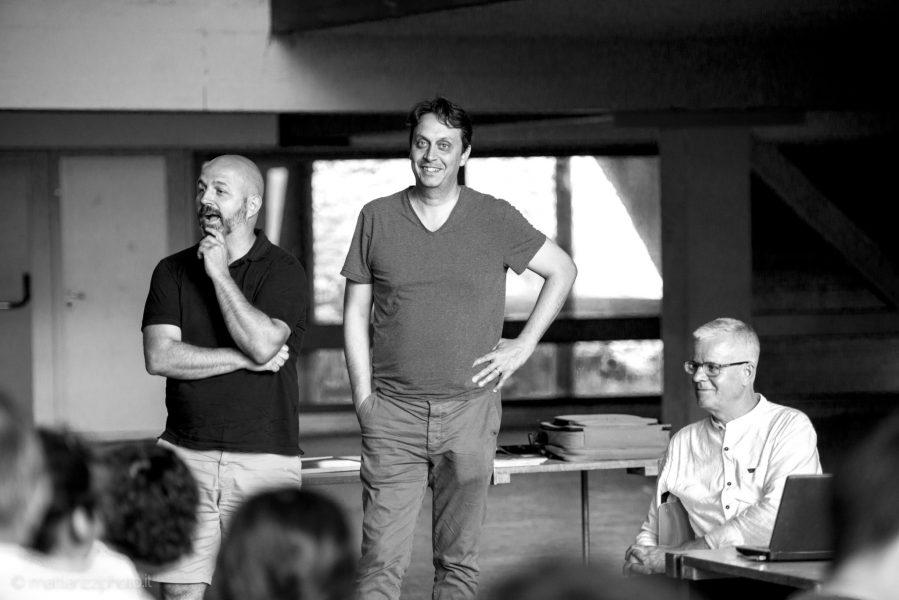da sinistra: Roberto Bosi -ProViaggiArchitettura-, Edoardo Narne -Università degli Studi di Padova-, Werner Tscholl - foto: ©Mattia Rizzi